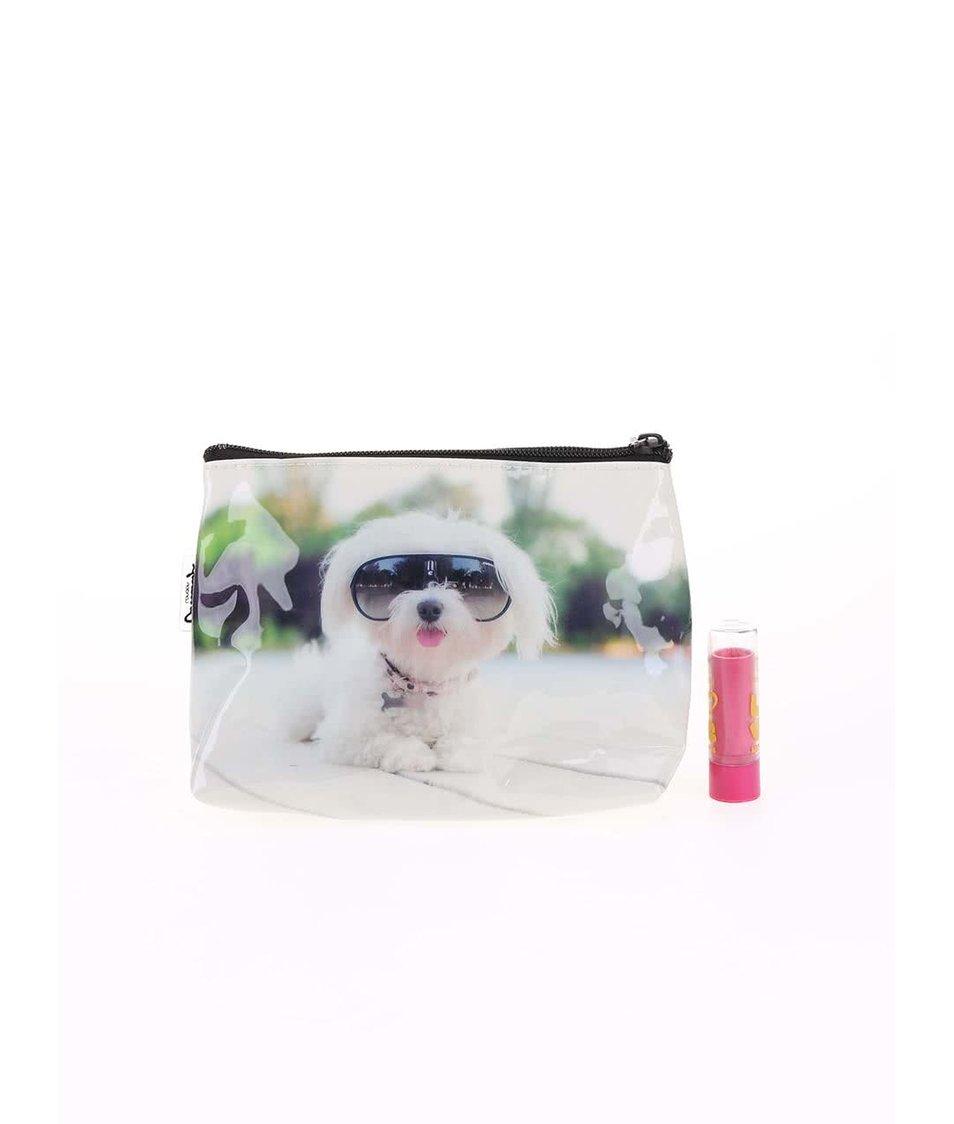 Bílá taštička na make-up Catseye London Diva Dog