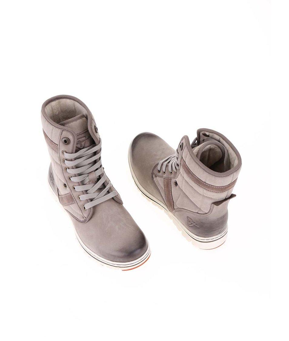 Béžové kožené boty s ozdobným prošíváním Tamaris