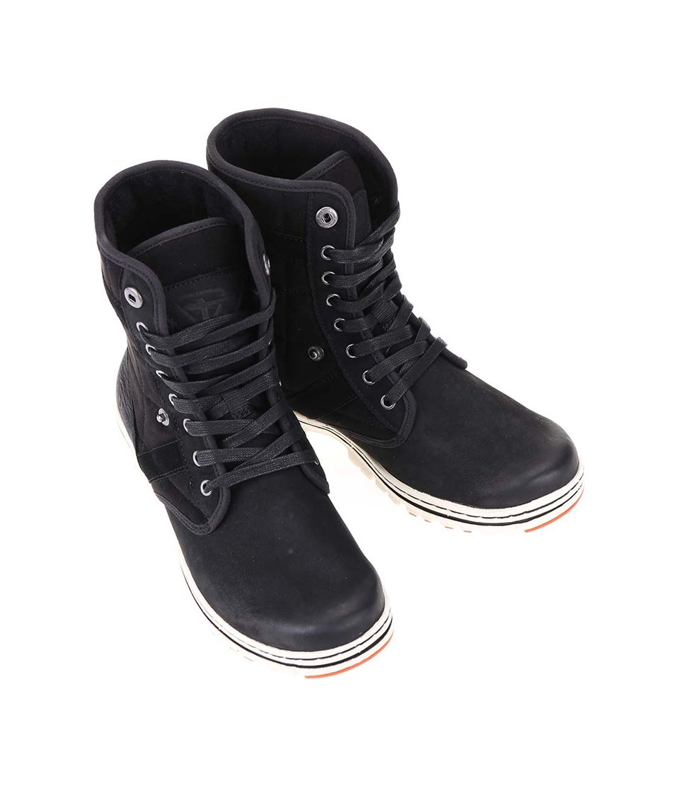 Černé kožené šněrovací boty s ozdobným prošíváním Tamaris