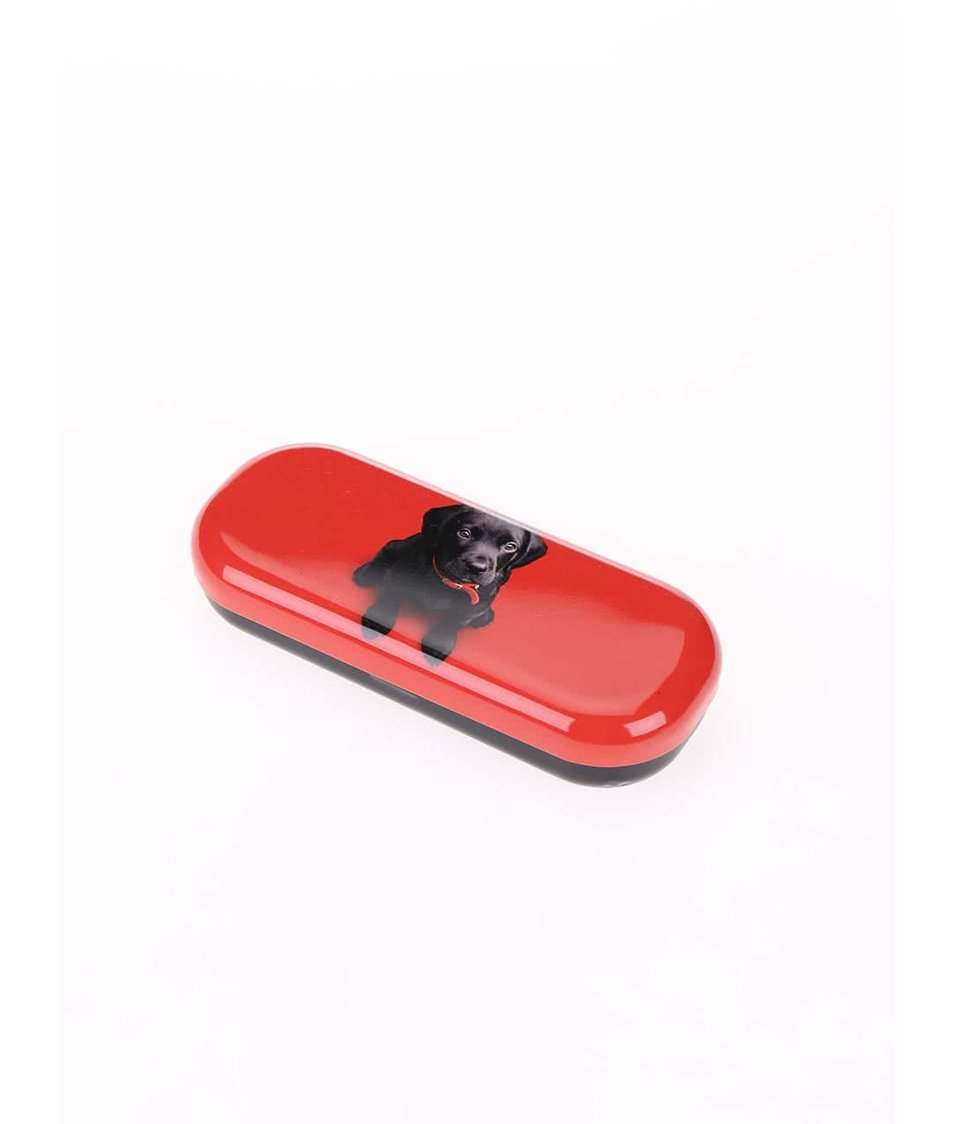 Červené pouzdro na brýle Catseye London Black Lab