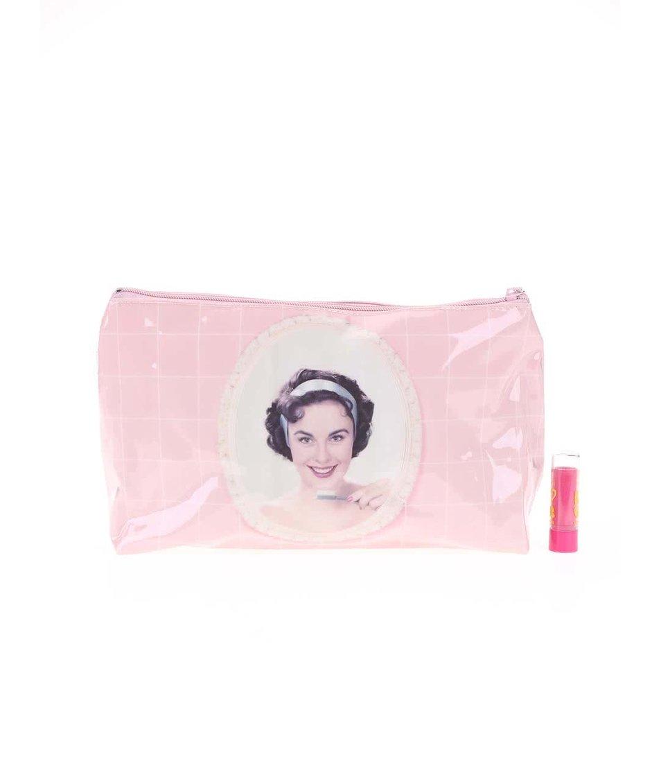 Světle růžová toaletní taštička Catseye London Toothbrush Girl