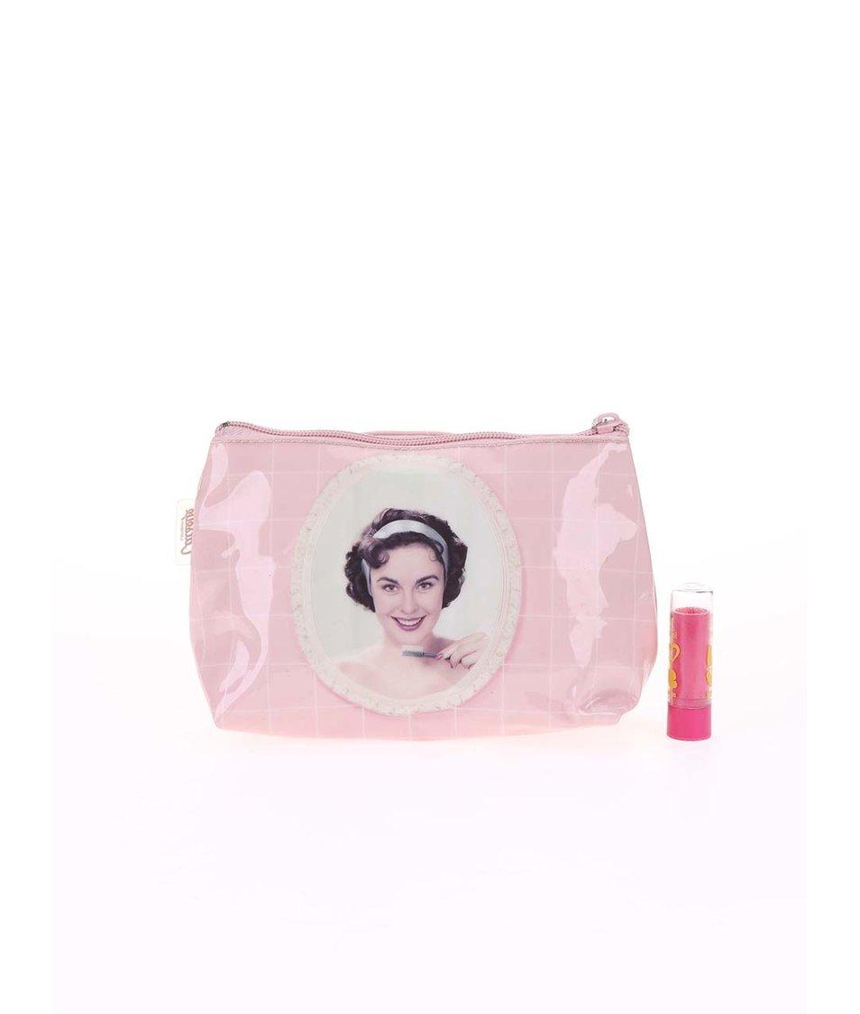 Světle růžová taštička na make-up Catseye London Toothbrush Girl