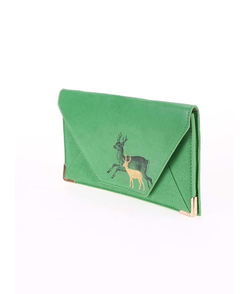 Zelená cestovní peněženka s jelenem Disaster Heritage and Harlequin