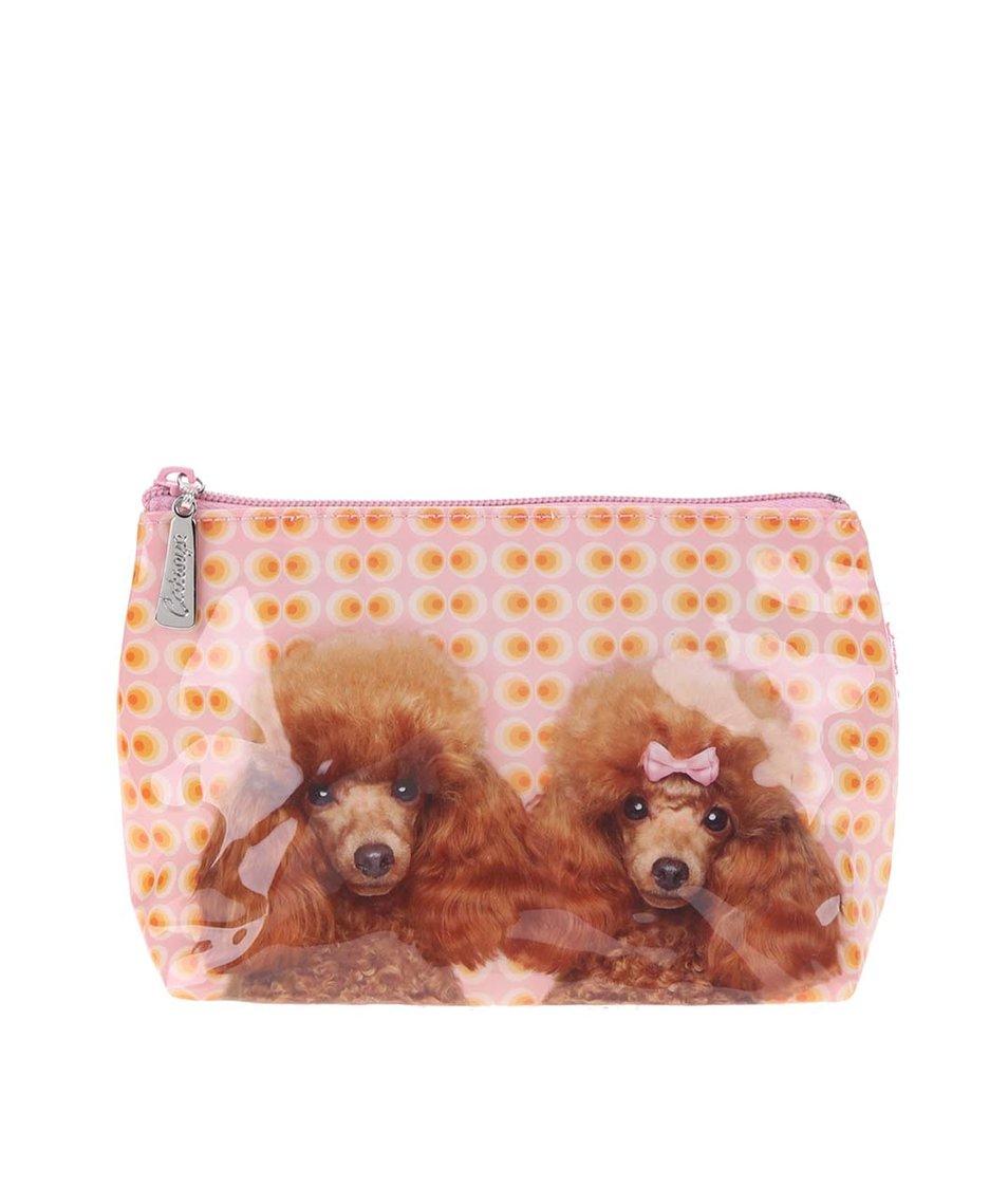 Oranžovo-růžová kosmetická taštička Catseye London Poodle Love