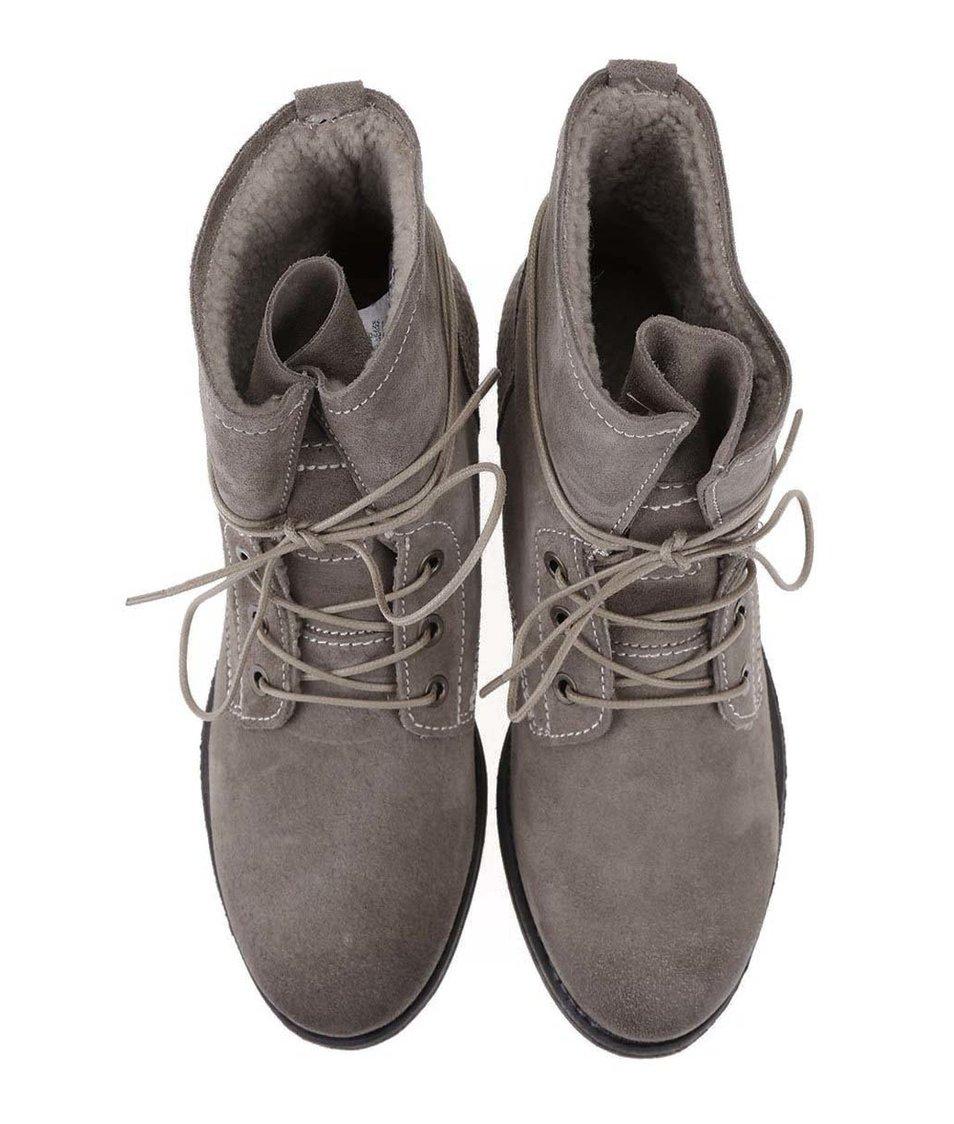 Šedohnědé kožené šněrovací boty Tamaris