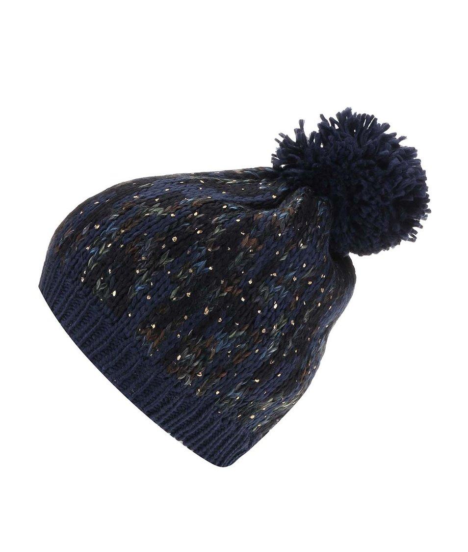 Tmavě modrá žíhaná pletená čepice Pieces Vilitta