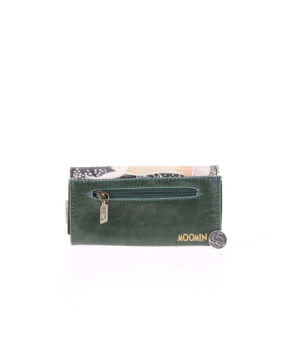 Tmavě zelená peněženka s barevným potiskem Disaster Moomins