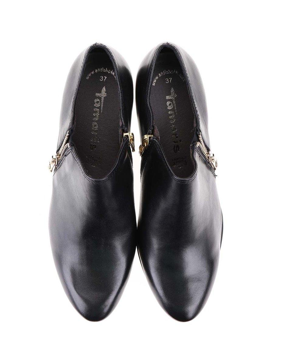 Černé kožené boty s ozdobným zipem Tamaris