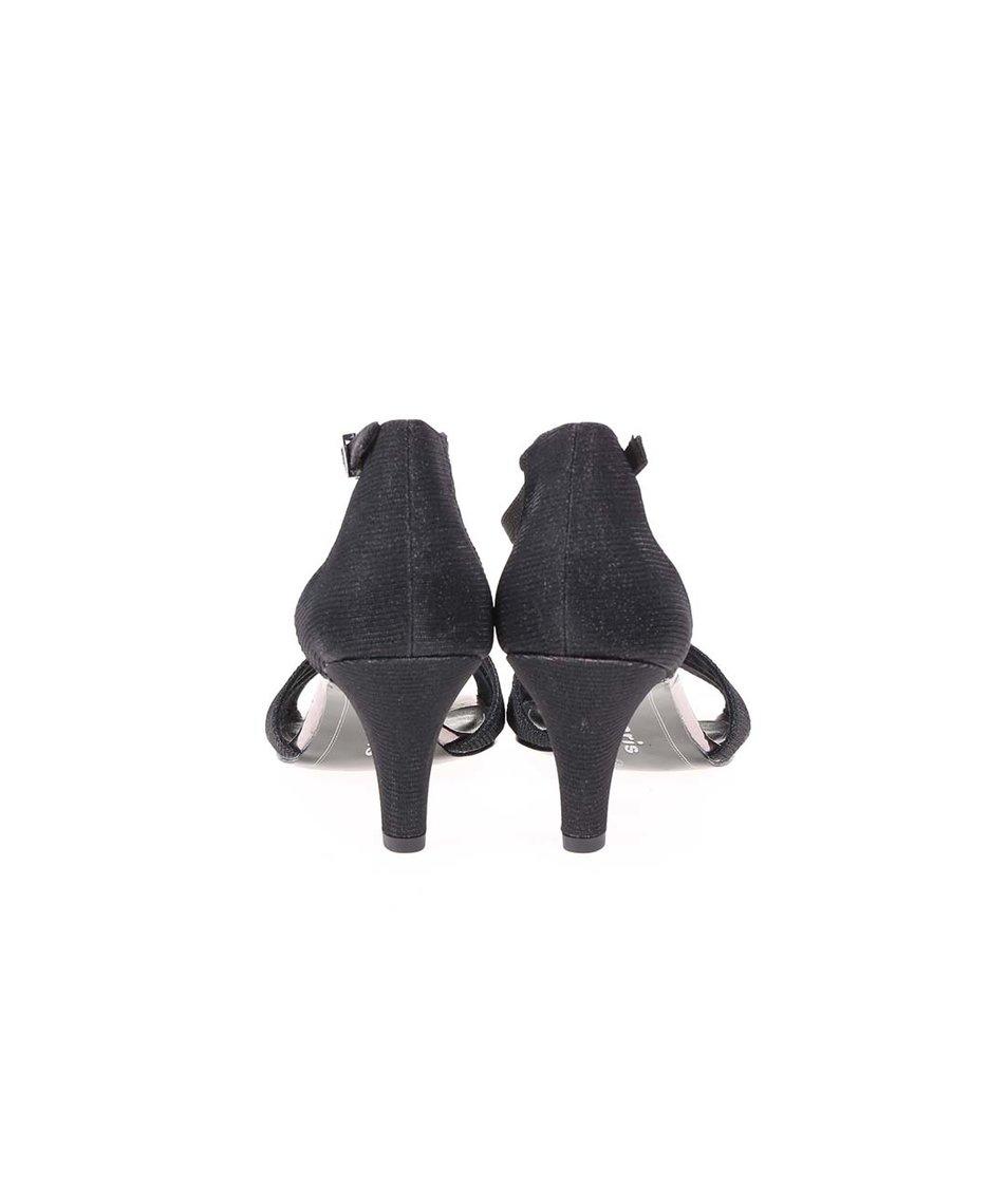 Černé třpytivé sandálky na podpatku Tamaris