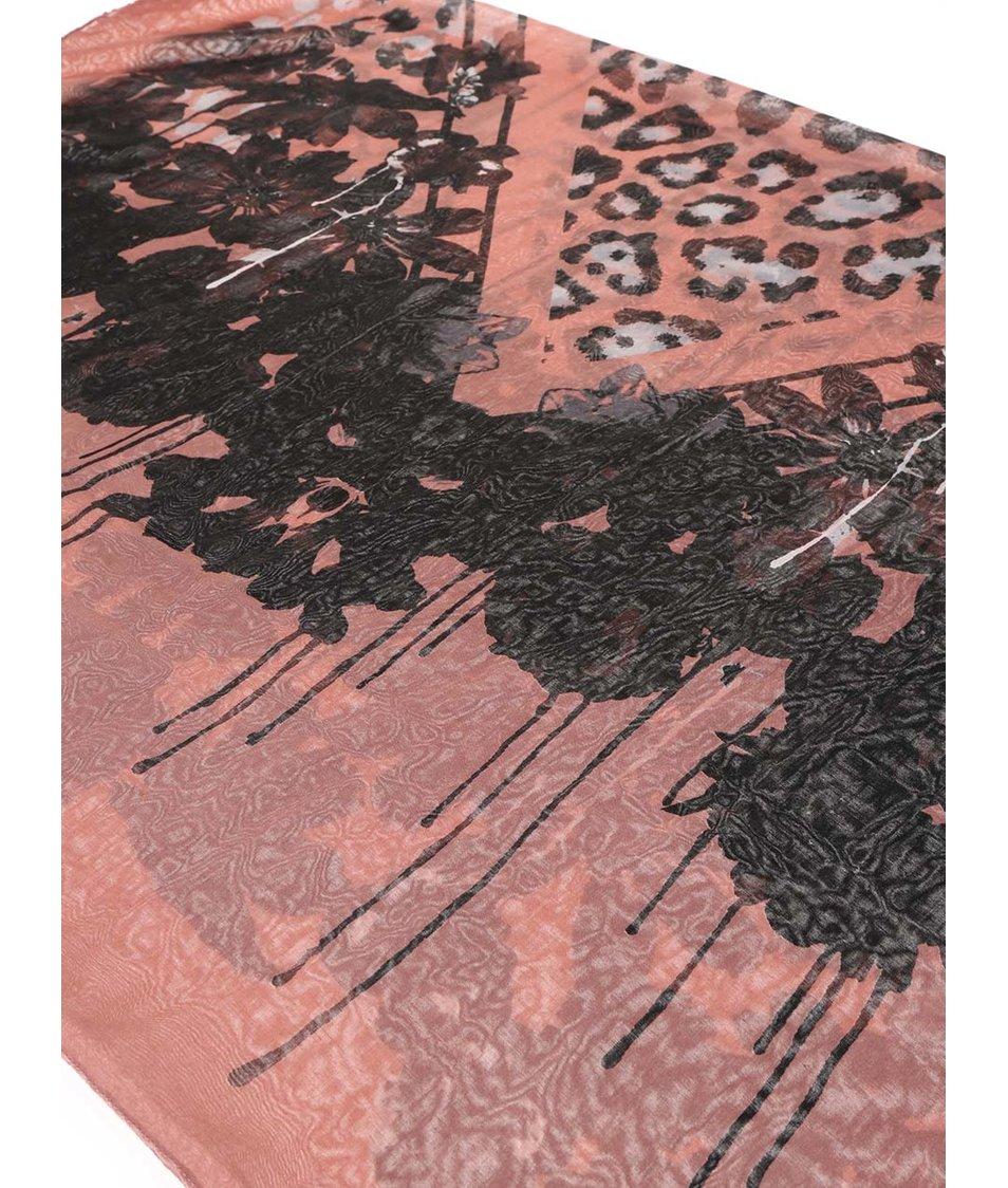 Starorůžová dutá šála s leopardím vzorem Pieces Vaffe
