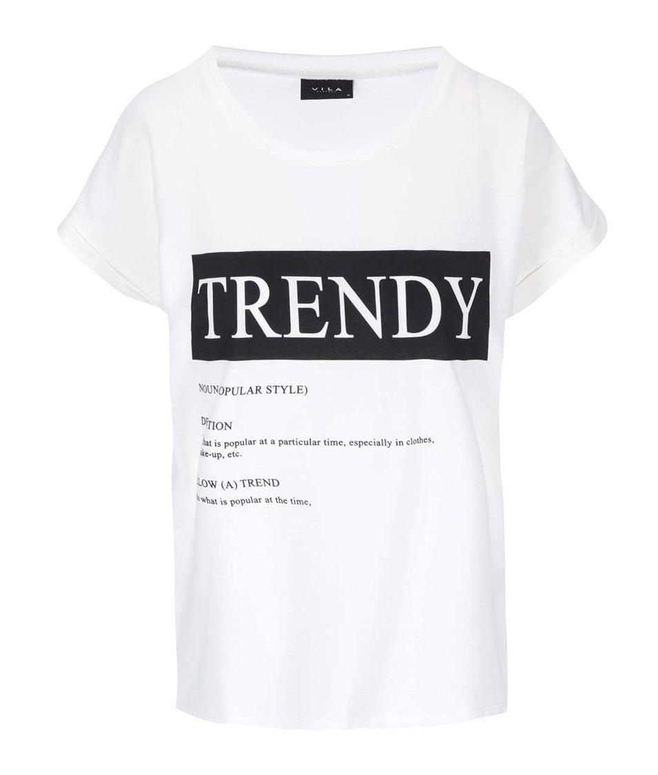 Bílé tričko s potiskem VILA Dreamers