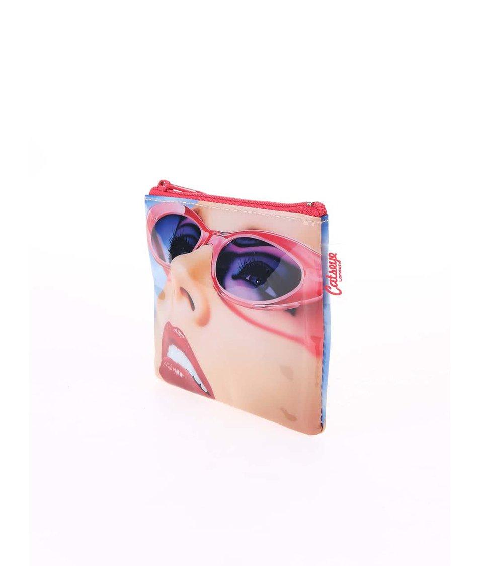 Červená peněženka na drobné Catseye London Glam