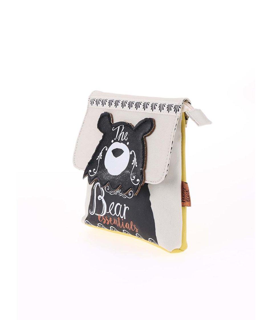 Žluto-béžová kosmetická taštička s medvědem Disaster Penny Black