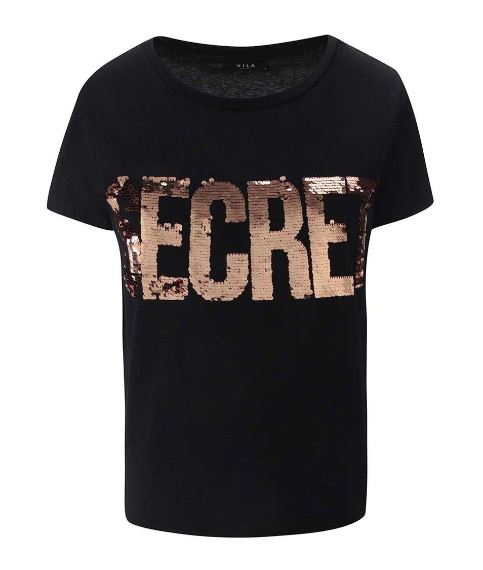 Černé tričko s nápisem VILA Create