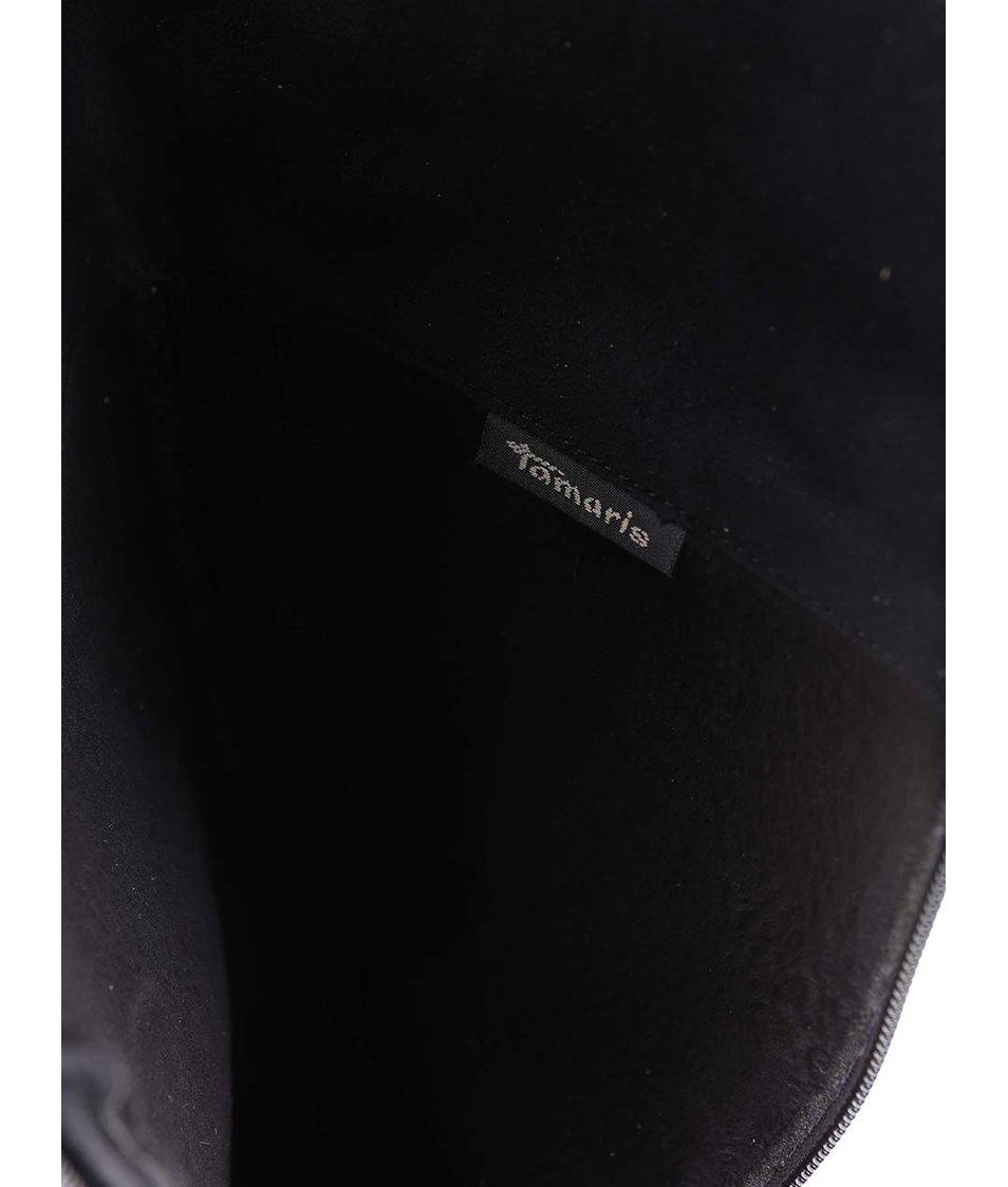 Černé kožené kozačky se sponou na širokém podpatku Tamaris