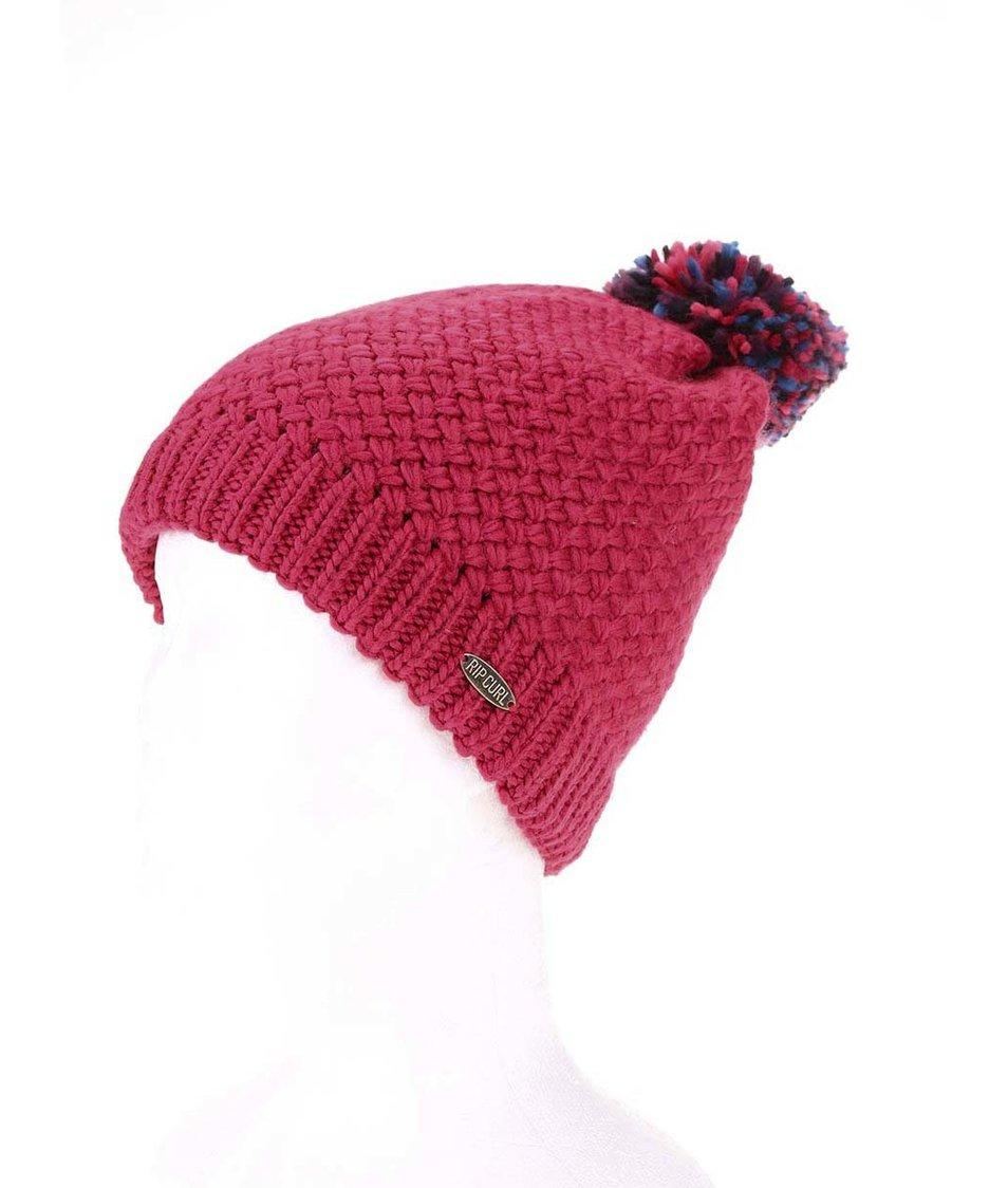 Růžová dámská pletená čepice s bambulí Rip Curl Spectrum