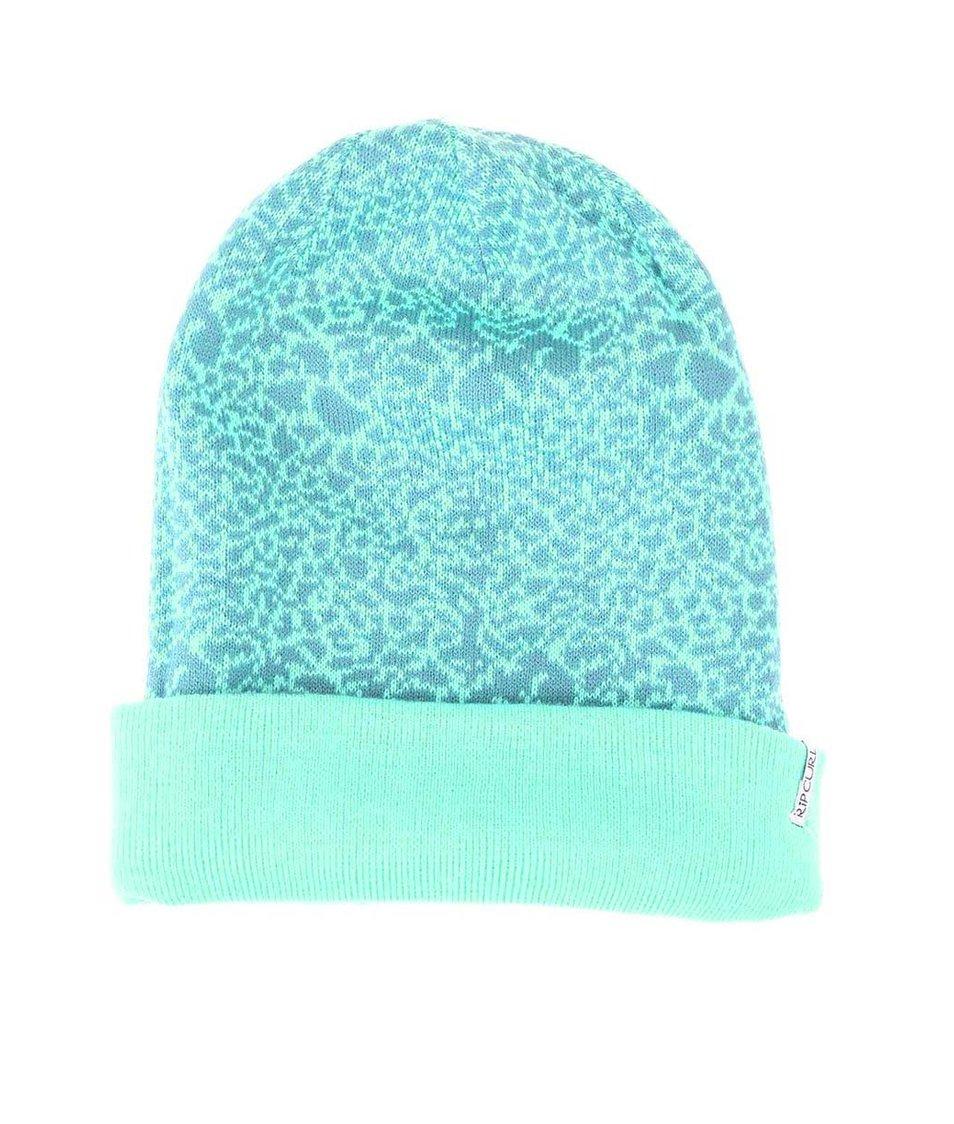 Mentolová dámská oboustranná čepice se vzorem Rip Curl Leopard