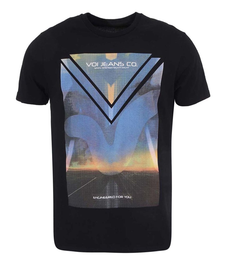 Černé pánské triko s potiskem Voi Jeans Dooms