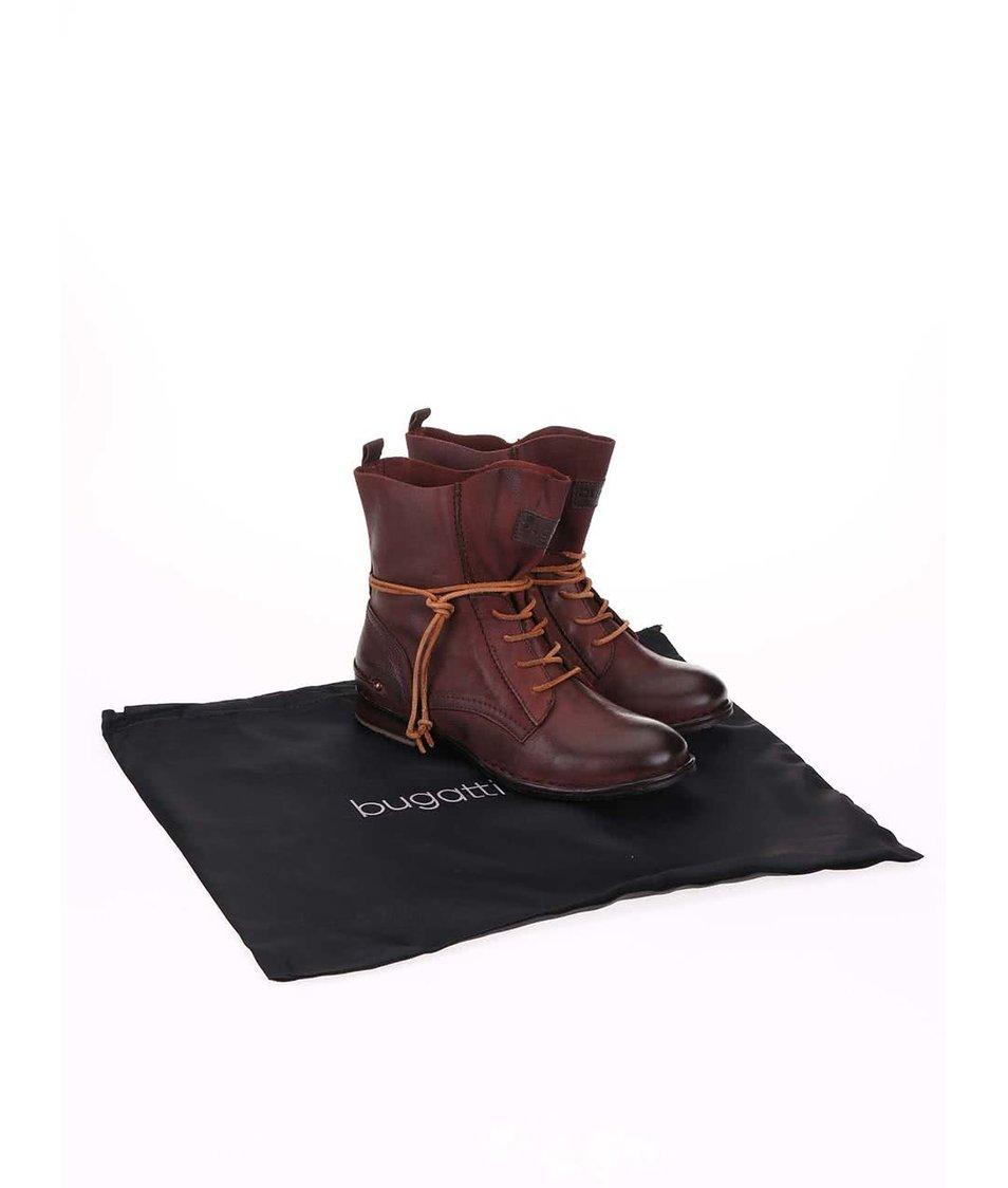 Vínové kožené kotníkové boty bugatti Karla