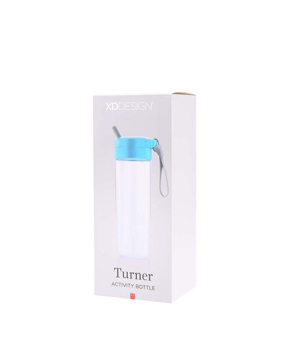 Modrá láhev na pití s brčkem a úchytem XD Design Turner