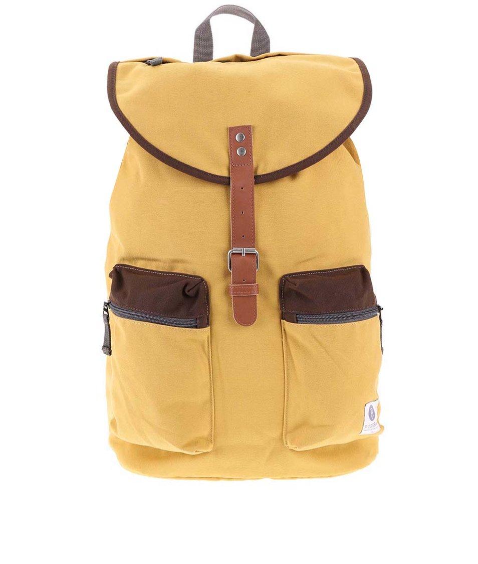 Hnědo-žlutý větší batoh s kapsami Ridgebake Kay