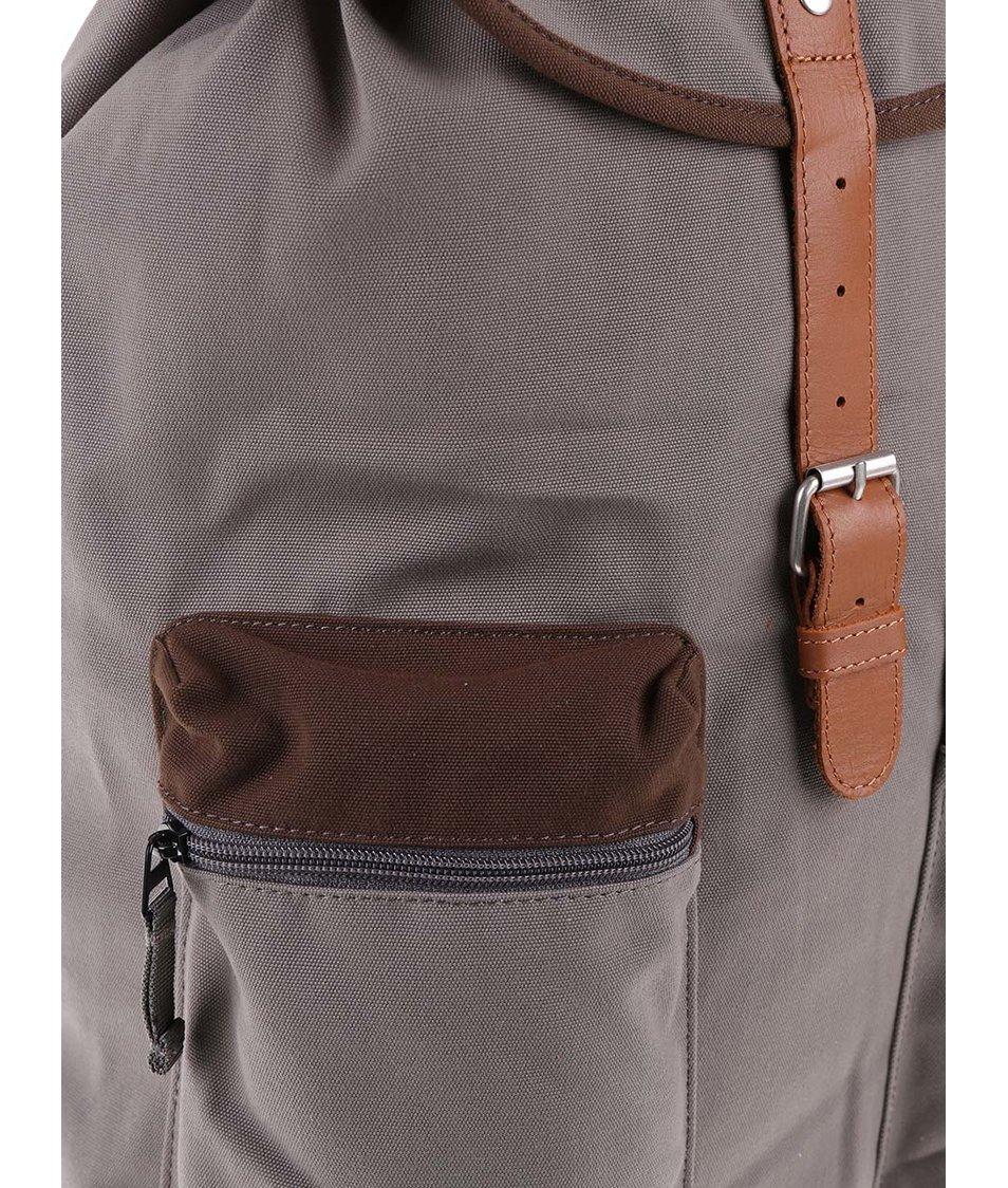 Zelenošedý větší batoh s hnědými kapsami Ridgebake Kay