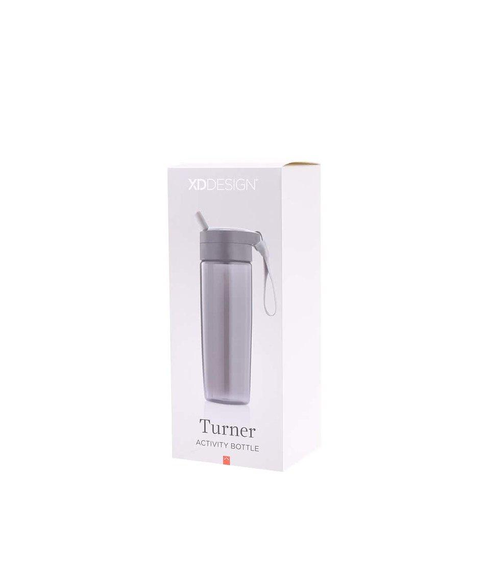 Černá láhev na pití s brčkem a úchytem XD Design Turner