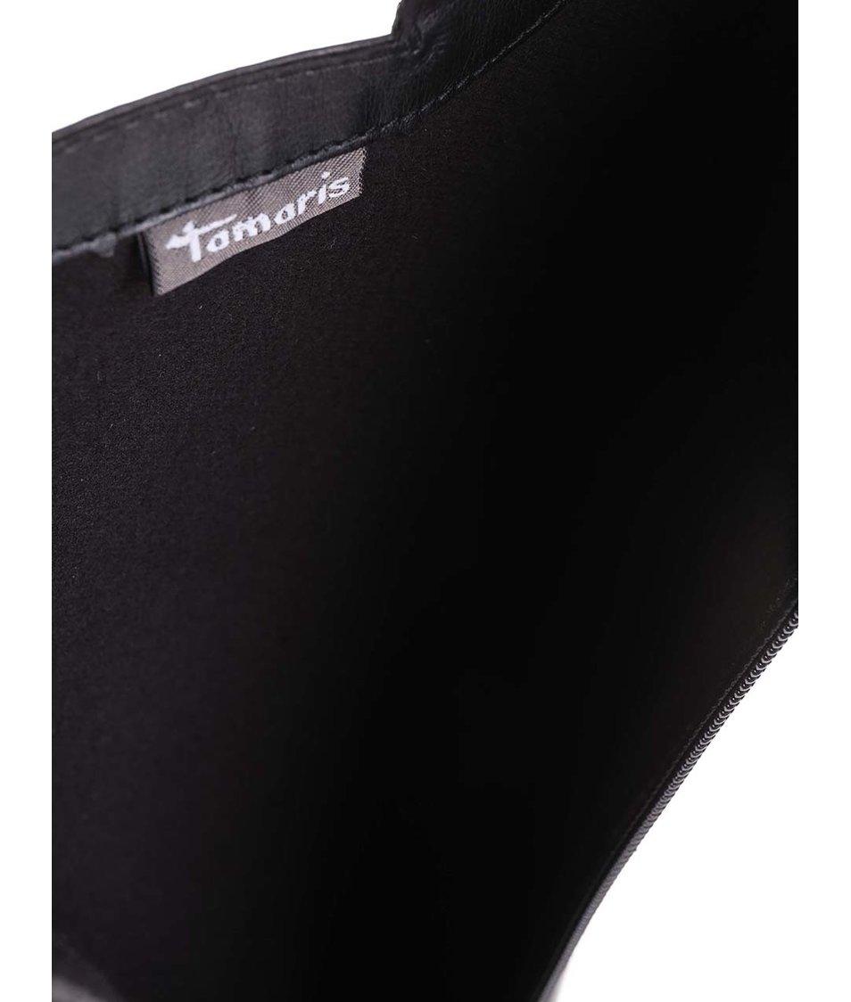 Černé kožené kozačky na jehlovém podpatku Tamaris