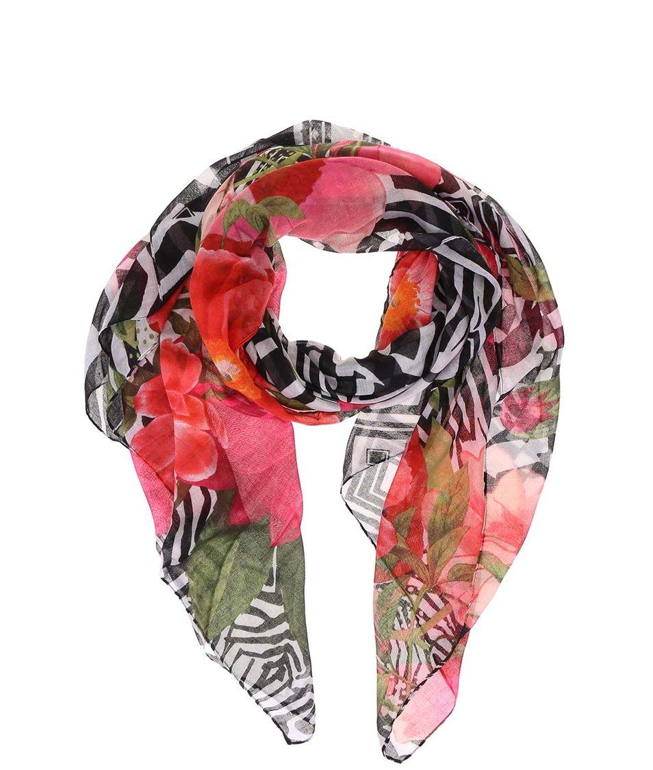 Barevný šátek s květinovým vzorem Desigual Tsukiflo