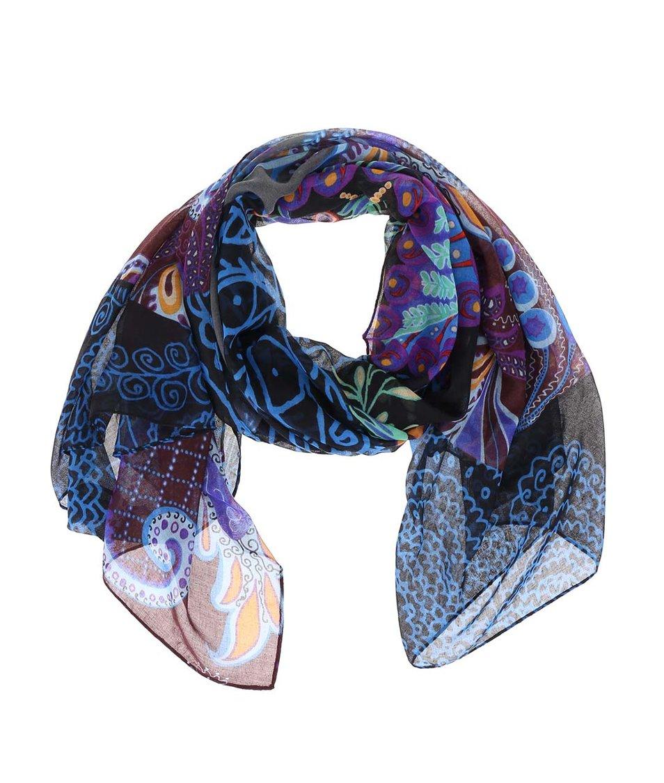 Modro-černý vzorovaný šátek Desigual Panu