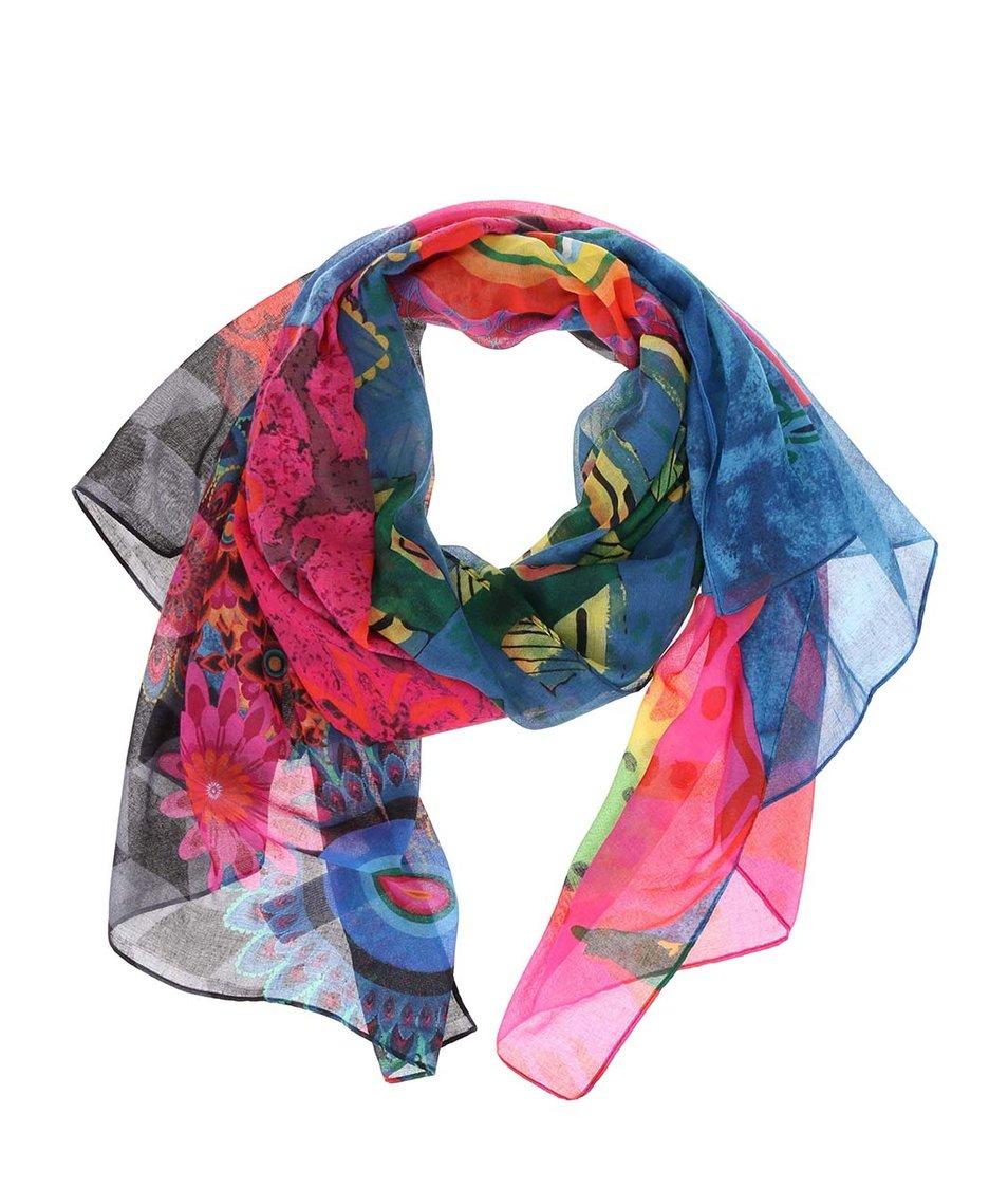 Barevný vzorovaný šátek Desigual Lakey