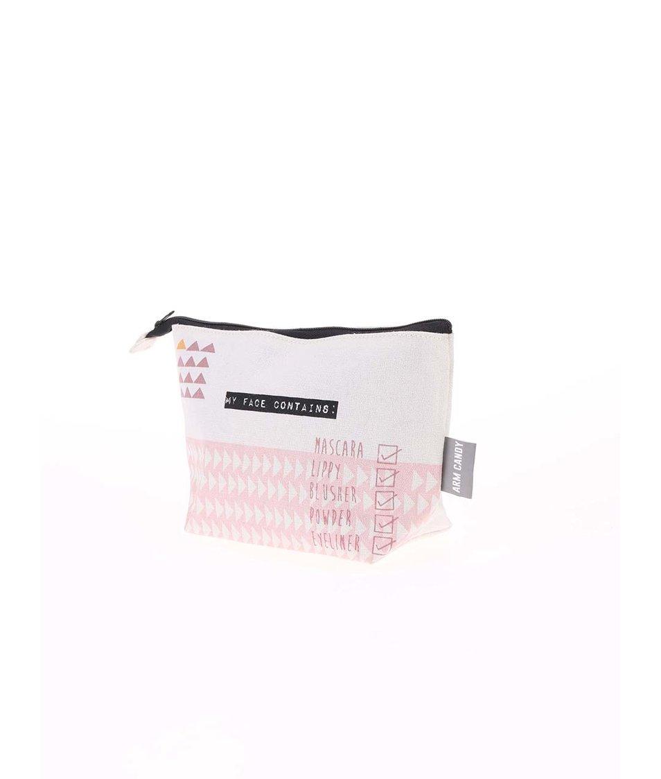 Růžovo-béžová vzorovaná kosmetická taštička Disaster Arm Candy