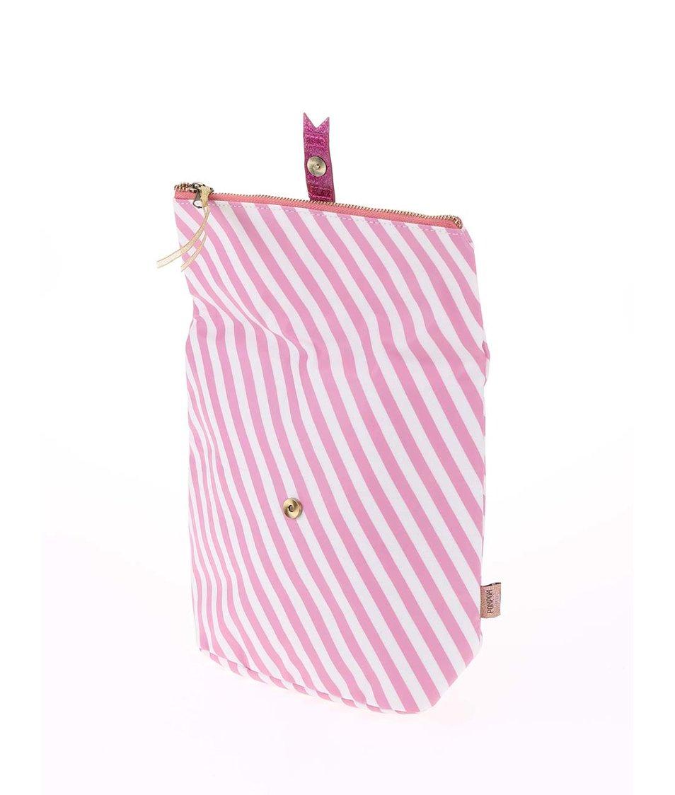 Bílo-růžová pruhovaná hygienická taštička Disaster Pompom Tutti