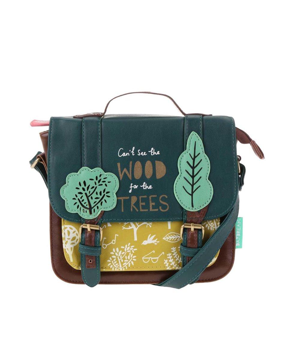 Zeleno-hnědá menší kabelka přes rameno Disaster Daydream