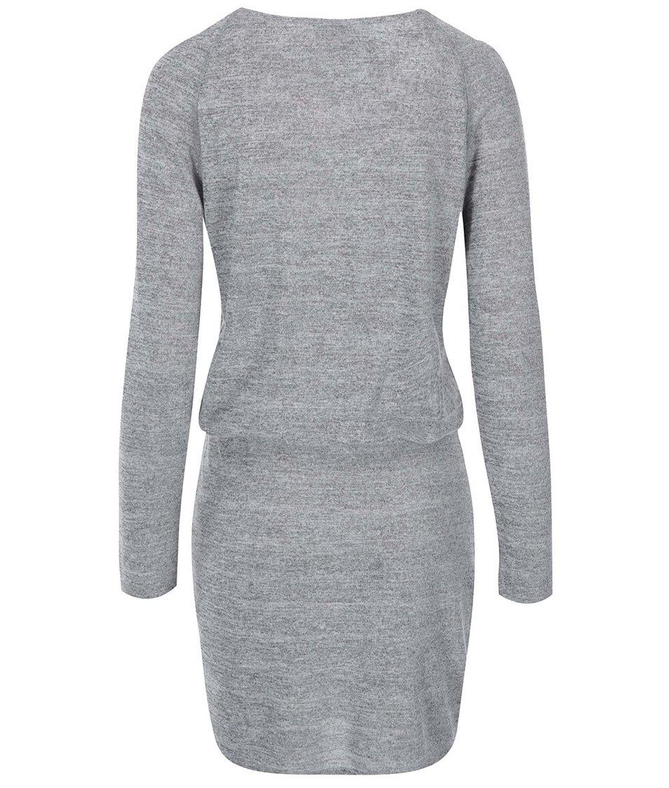 Světle šedé žíhané šaty s dlouhým rukávem VILA Expose