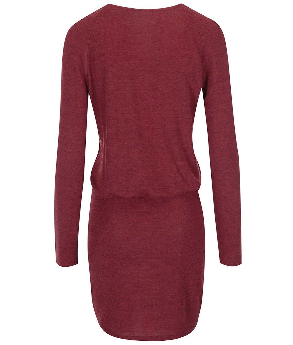 Vínové žíhané šaty s dlouhým rukávem VILA Expose