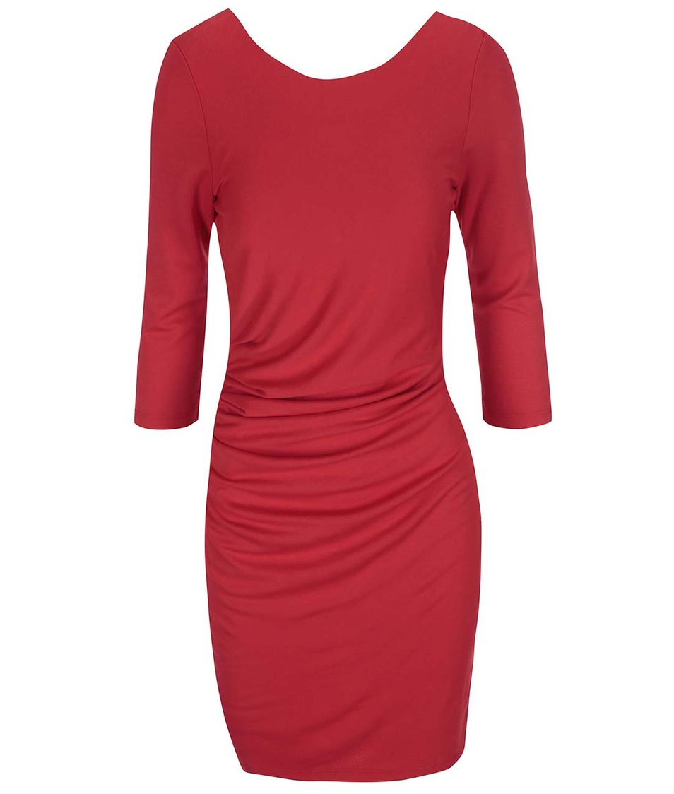 Červené šaty s 3/4 rukávy VILA Gioli