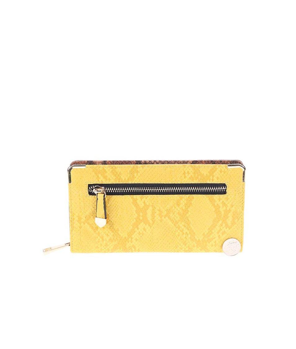 Žluto-hnědá peněženka s hadím vzorem ALDO Apelian