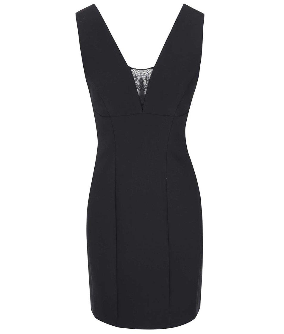 Černé pouzdrové šaty s krajkou v dekoltu VILA Kiss
