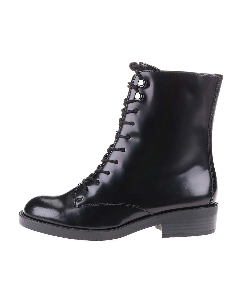 Černé kožené šněrovací boty ALDO Johnsie