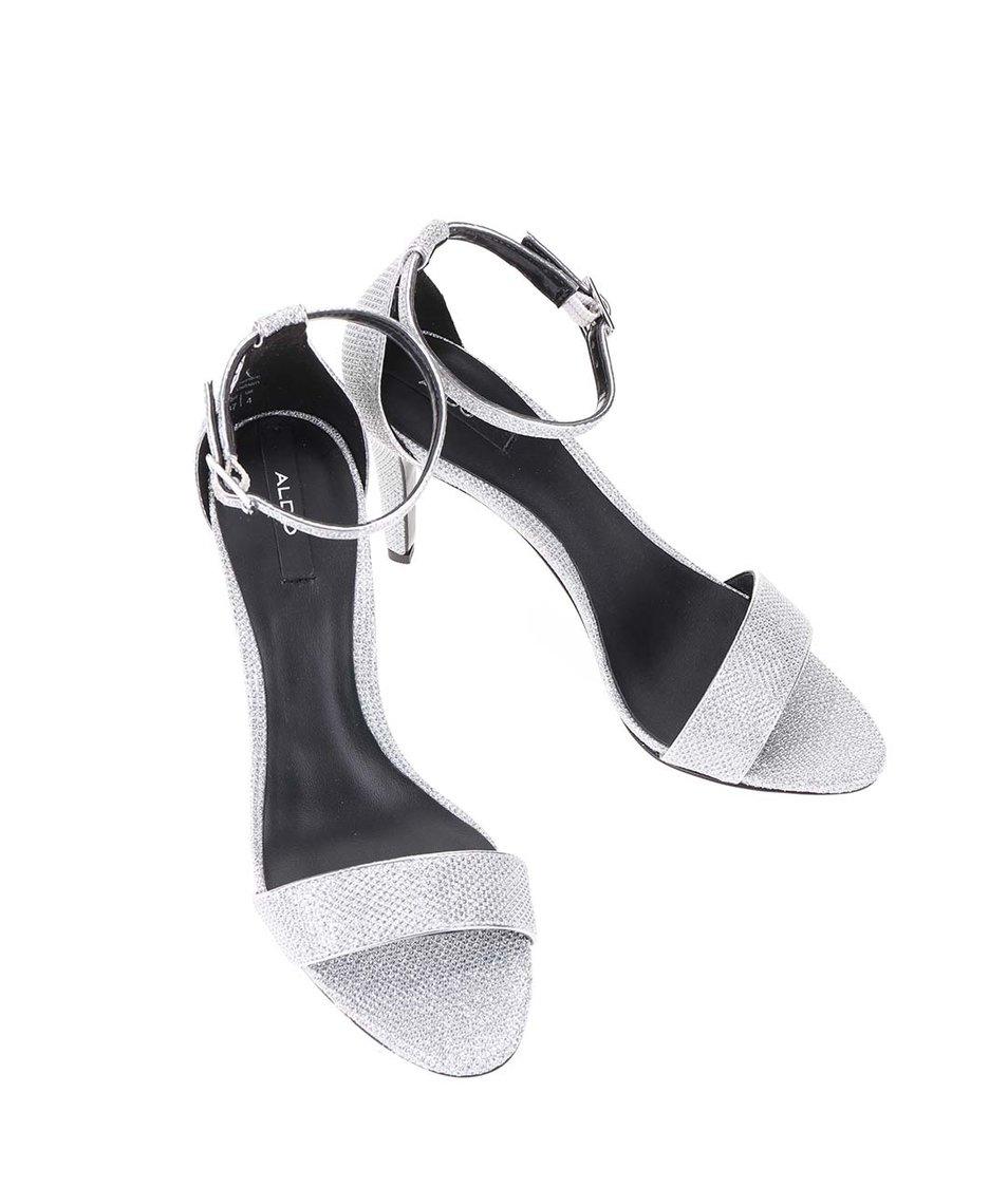 Páskové sandálky na podpatku ve stříbrné barvě ALDO Umirema