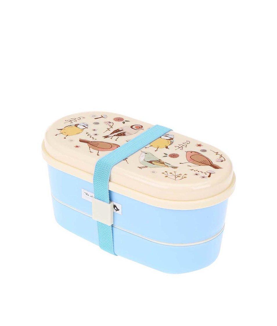 Modrý box na oběd s ptáčky Sass & Belle Birds Bento