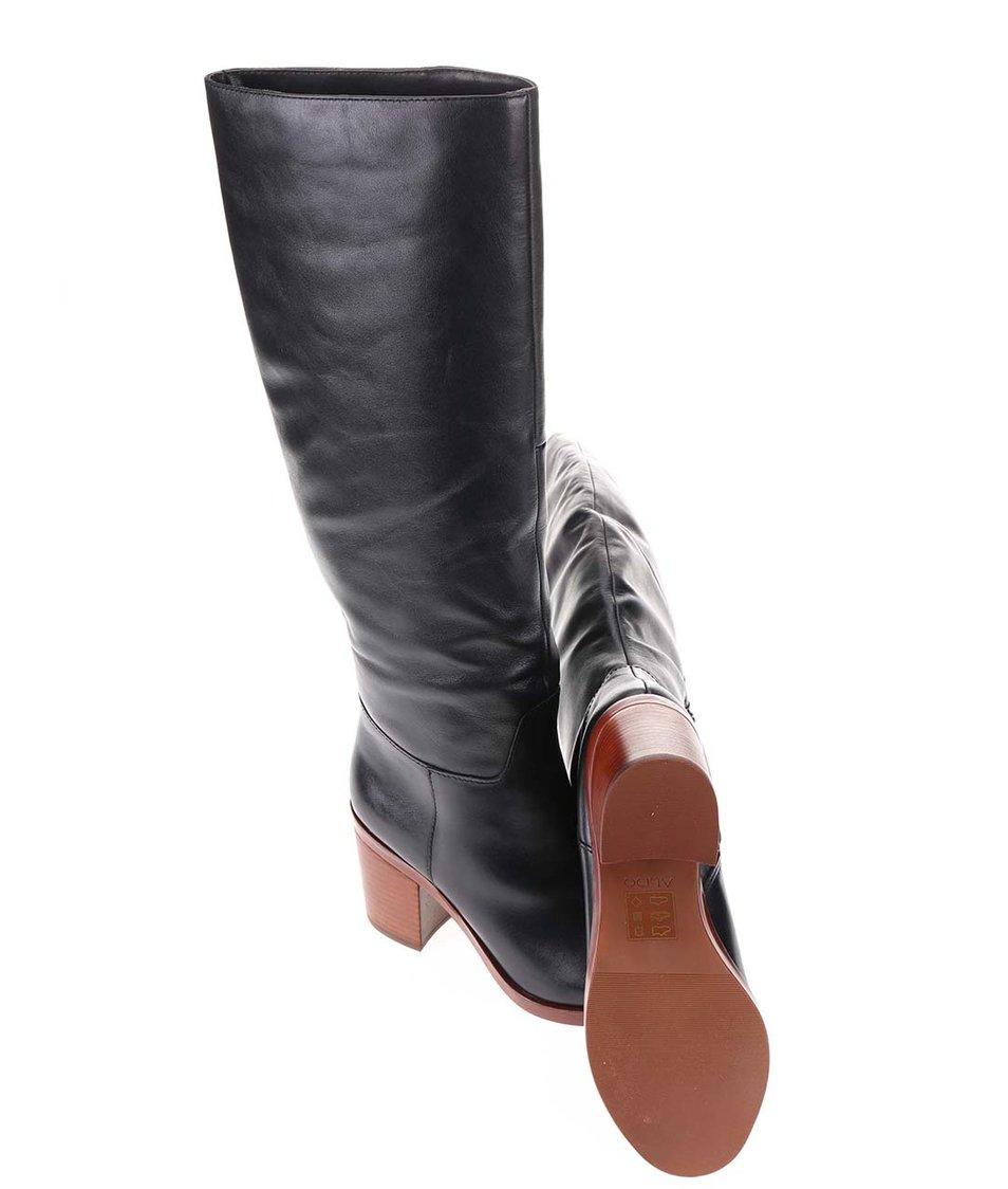 Černé kožené kozačky na podpatku ALDO Luckie