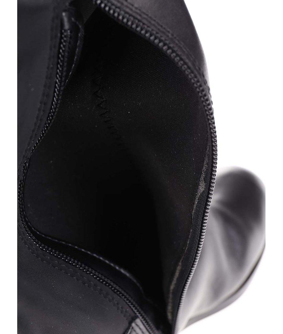 Černé kožené vysoké kozačky ALDO Dyna