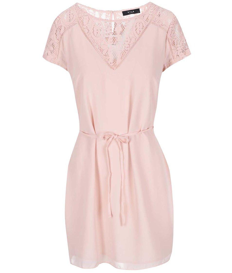 Světle růžové šaty s krajkou VILA Renta