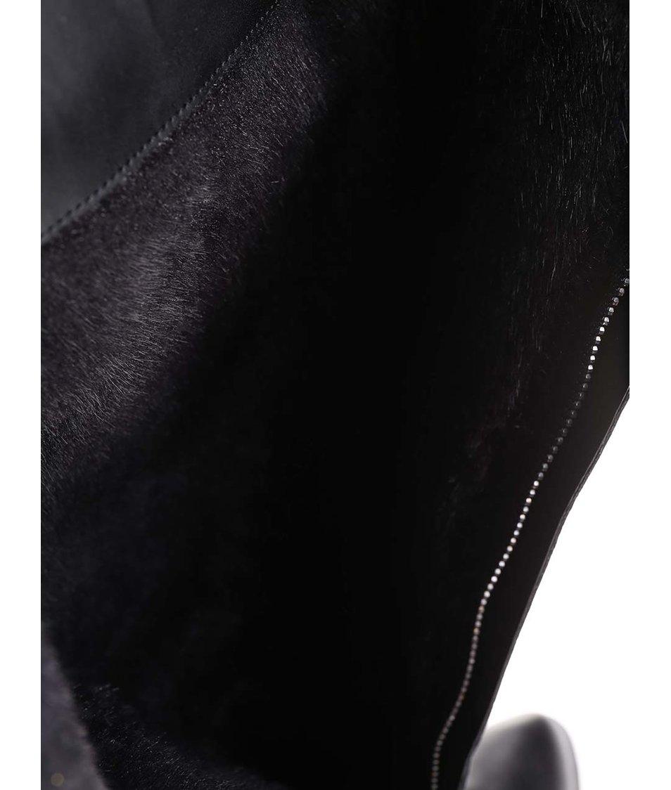 Černé kožené kozačky na masivním podpatku ALDO Solivo