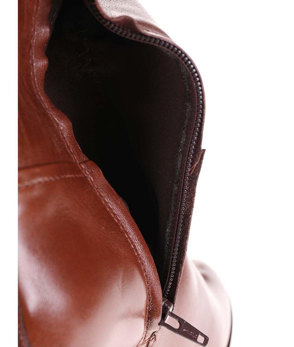 Hnědé kožené kozačky na podpatku ALDO Jen
