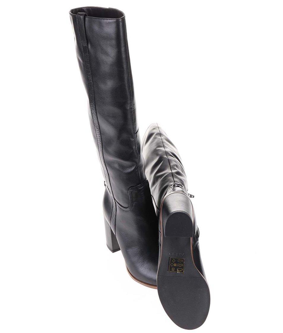 Černé kožené kozačky na podpatku ALDO Jen