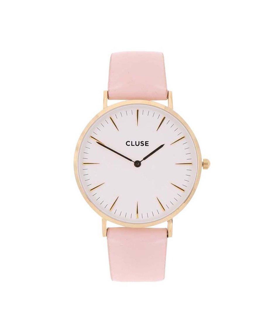 Bílo-růžové kožené hodinky CLUSE La Bohème Gold