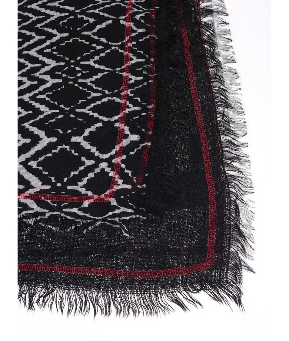 Šedo-černá dámská vzorovaná šála s.Oliver